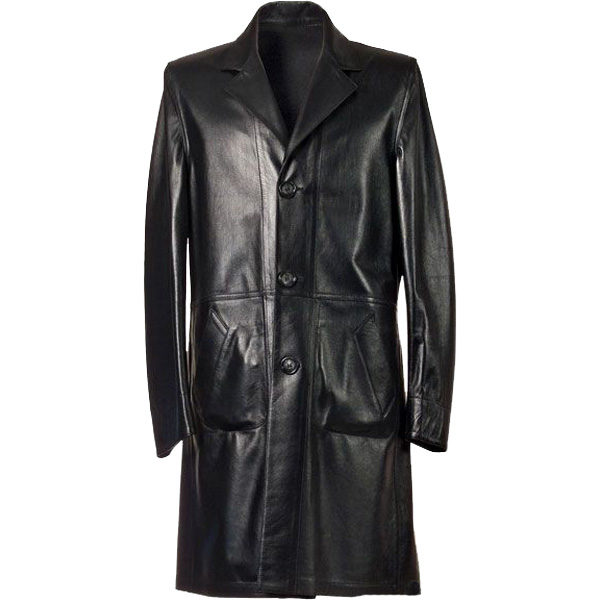 3-button Long leather Coat for Men