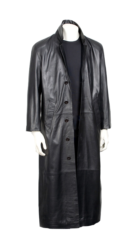 3-button Long leather Coat for Men
