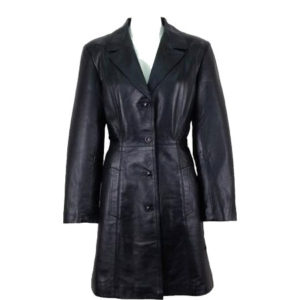 4-button Trench Leather Coat