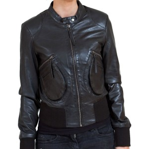 Women's Black Leather Bomber Jacket