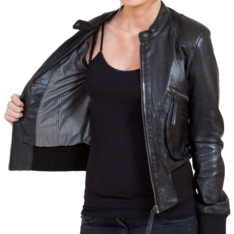 a6b6b80fd13 Women s Black Leather Bomber Jacket - Leather Jackets USA