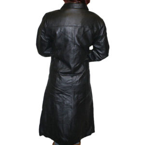 A 43 inch Long Trench Leather Coat