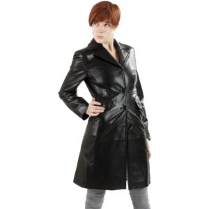 A Black Leather Walking Trench Coat for Women