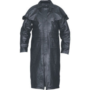 A Charcoal Below Knee Leather Coat