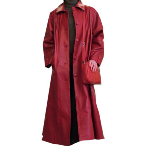 A Red Color Long Leather Ladies Coat