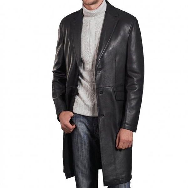 A Supreme Quality Black Leather Long Coat For Men - Leather ...