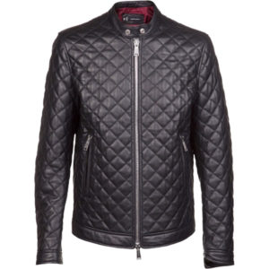 A Quilted Men's Bomber Leather Jacket
