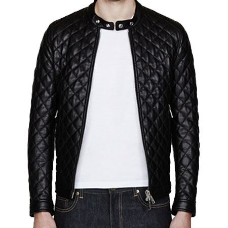A Quilted Men's Bomber Leather Jacket - Leather Jackets USA