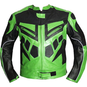 Armor Motorcycle Riding Leather Jacket In Green