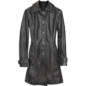 Belted sleeves Long Trench leather Coat