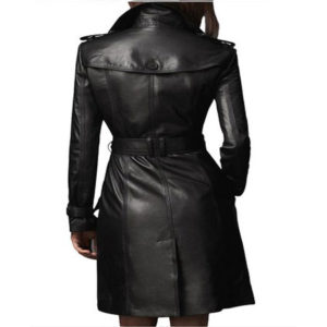 A black double breasted long trench coat for women