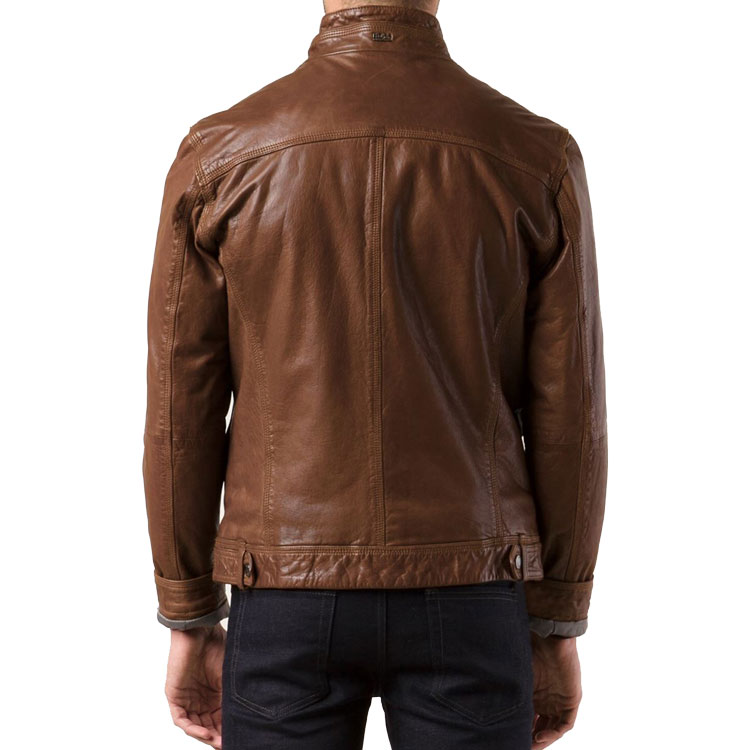 Brown Color Men Bomber Leather Jacket - Leather Jackets USA