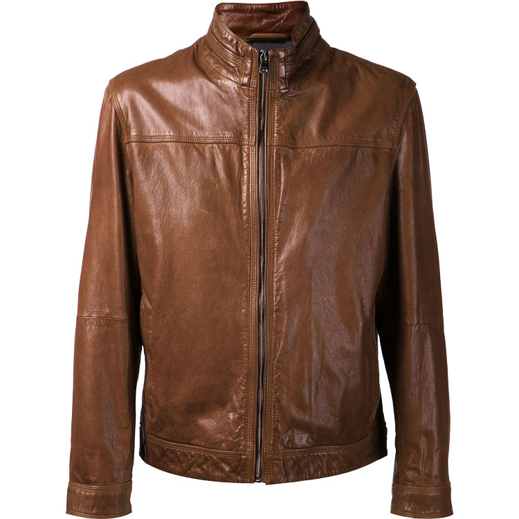 6c4980c3217 Brown Color Men Bomber Leather Jacket - Leather Jackets USA