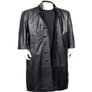Charcoal Ebb Long Leather Coat for Men