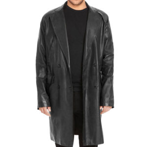 Charcoal Long Leather Hood Coat
