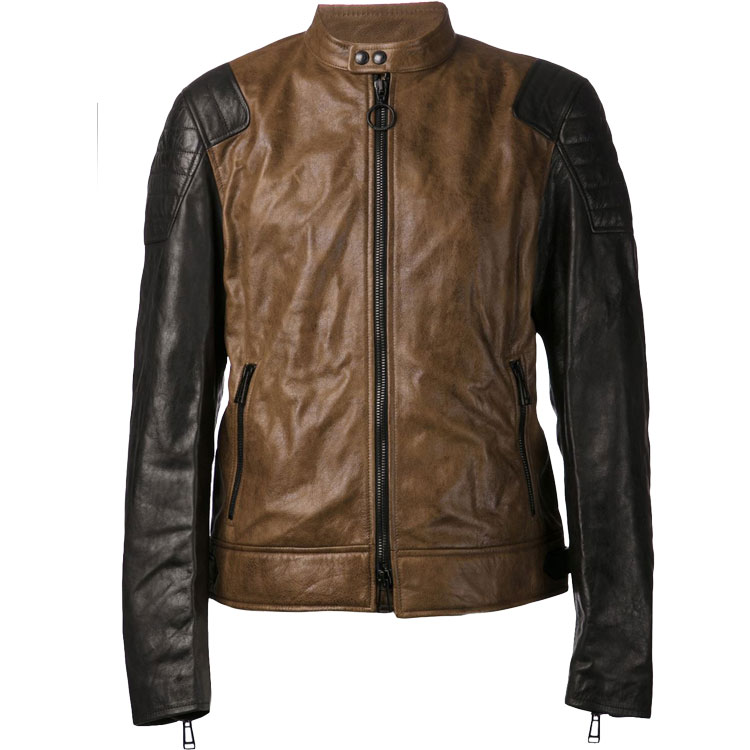 Dual Color Bomber Leather Jacket