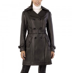 Elegant Trench Long Sheep Leather Coat For Women