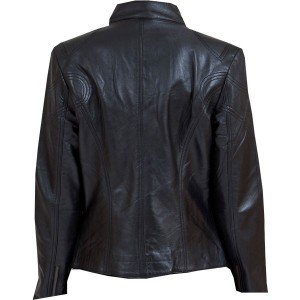 Eye-catching-black-leather-biker-jacket-for-Ladies-backside