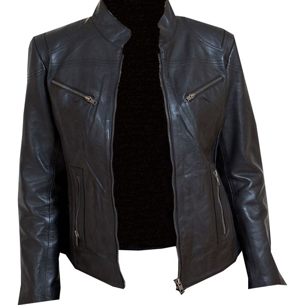 75e6fbfcc Eye-catching black leather biker jacket for Ladies