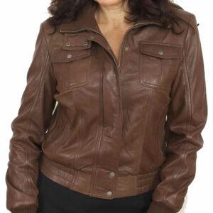 Front Pocket Brown Leather Bomber Jacket For Women