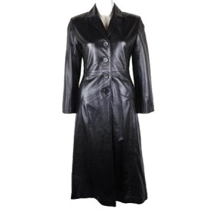 Full Length Trench Lether Coat In Black