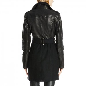 Leather & Wool Mixed Media Wool Long Coat