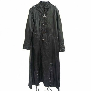 Long Leather Coat Men With Laces