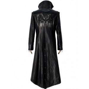 Men's Black Gothic Style Long Leather Coat