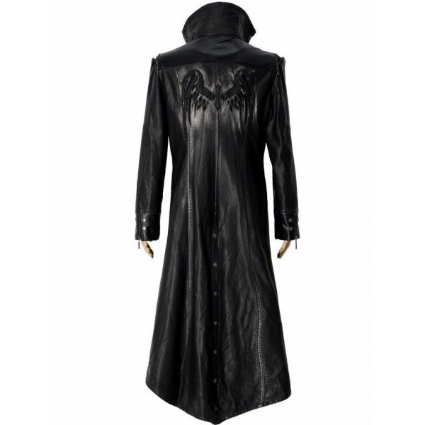 Men's Black Gothic Style Long Leather Coat - Leather Jackets USA