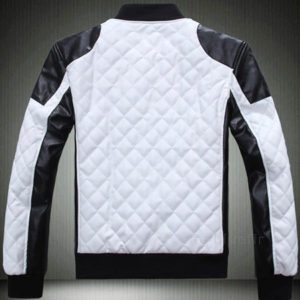 Mens Fashion Slim Fit White Bomber leather Jacket