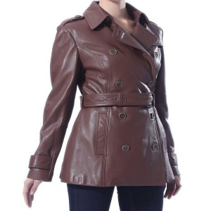 Removable belt Trench Leather coat
