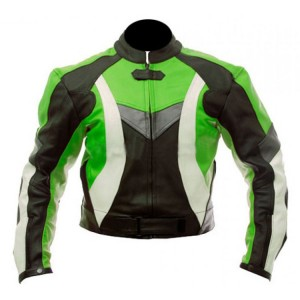 Super Motorcycle Black&Green Biker Jacket