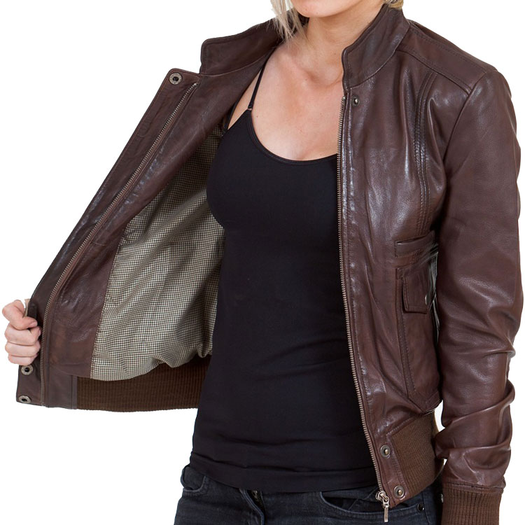 Women's Brown Leather Bomber Jacket - Leather Jackets USA