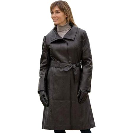 Women's Soft Lambskin Long Leather Coat - Leather Jackets USA