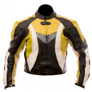 Yellow & Black Combination Biker Jacket