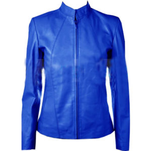 A-Fashion-Leather-Jacket-In-Blue-For-Women