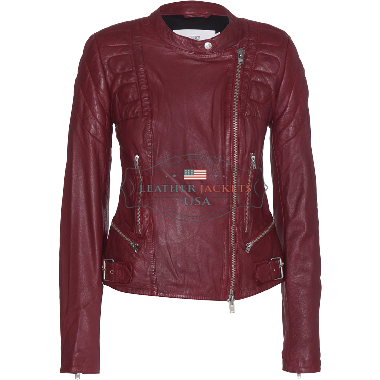 a stylish burgundy fashion leather jacket for women
