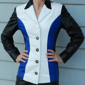 A Triplet Color Women Leather Jacket