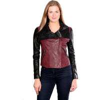 Leather-Jackets-for-women-in-Burgundy-colors-front