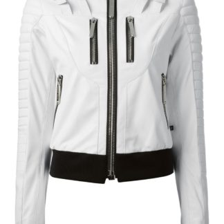 White Leather Zipper Leather Jackets For Women
