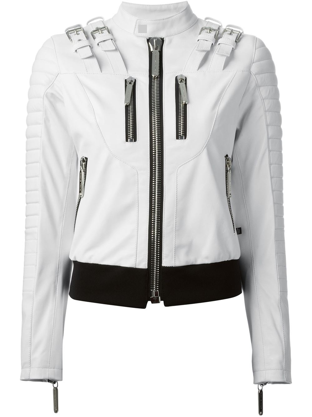 White Leather Zipper Leather Jackets For Women - Leather Jackets USA