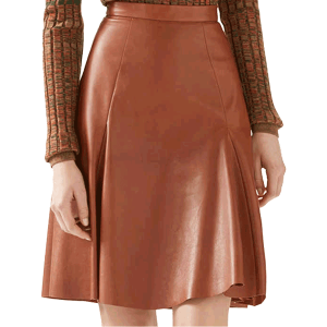 women-copper-color-leather-panel-skirt