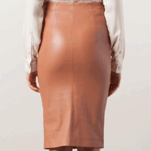women-copper-color-pencil-skirt-backside