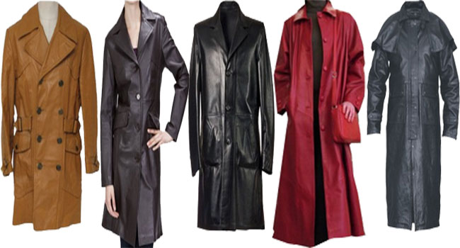 Buy Long Leather Coat for Ladies & Men's from Leather Jackets USA ...