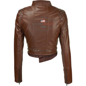 Brown Rider faux leather jackets For womensback