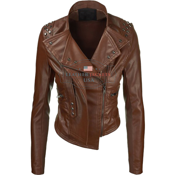 Brown Rider Faux Leather Jacket For Women - Leather Jackets USA