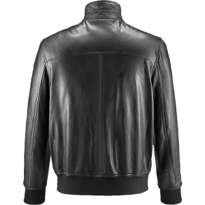 Funnel Neck Black Bomber Leather Jacket