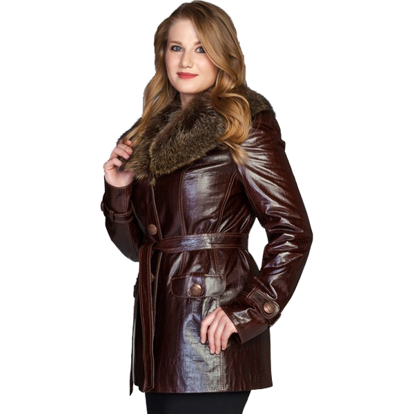 Golden Long Leather Jacket for Ladies - Leather Jackets USA