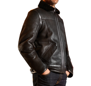 Premium Quality Flight Black Leather Jacket side