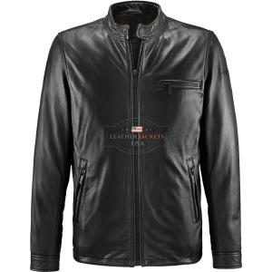 Unique Protective Black Biker Leather Jacket